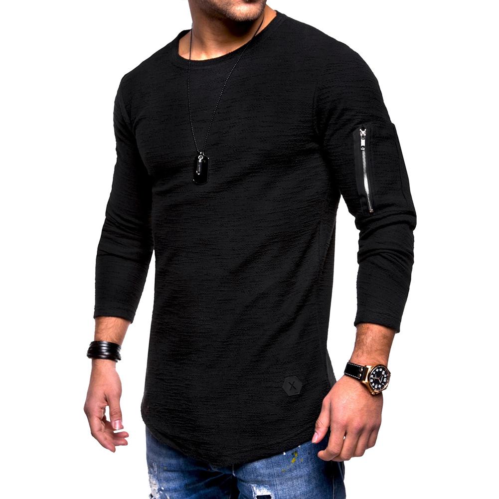 Men Shirt Casual Long Sleeve Zipper Pocket Pullover Slim Fit Top black_XXL