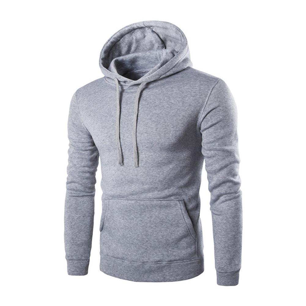 Unisex Fashion Hoodies Pure Color Long Sleeved Hoodies light grey_M
