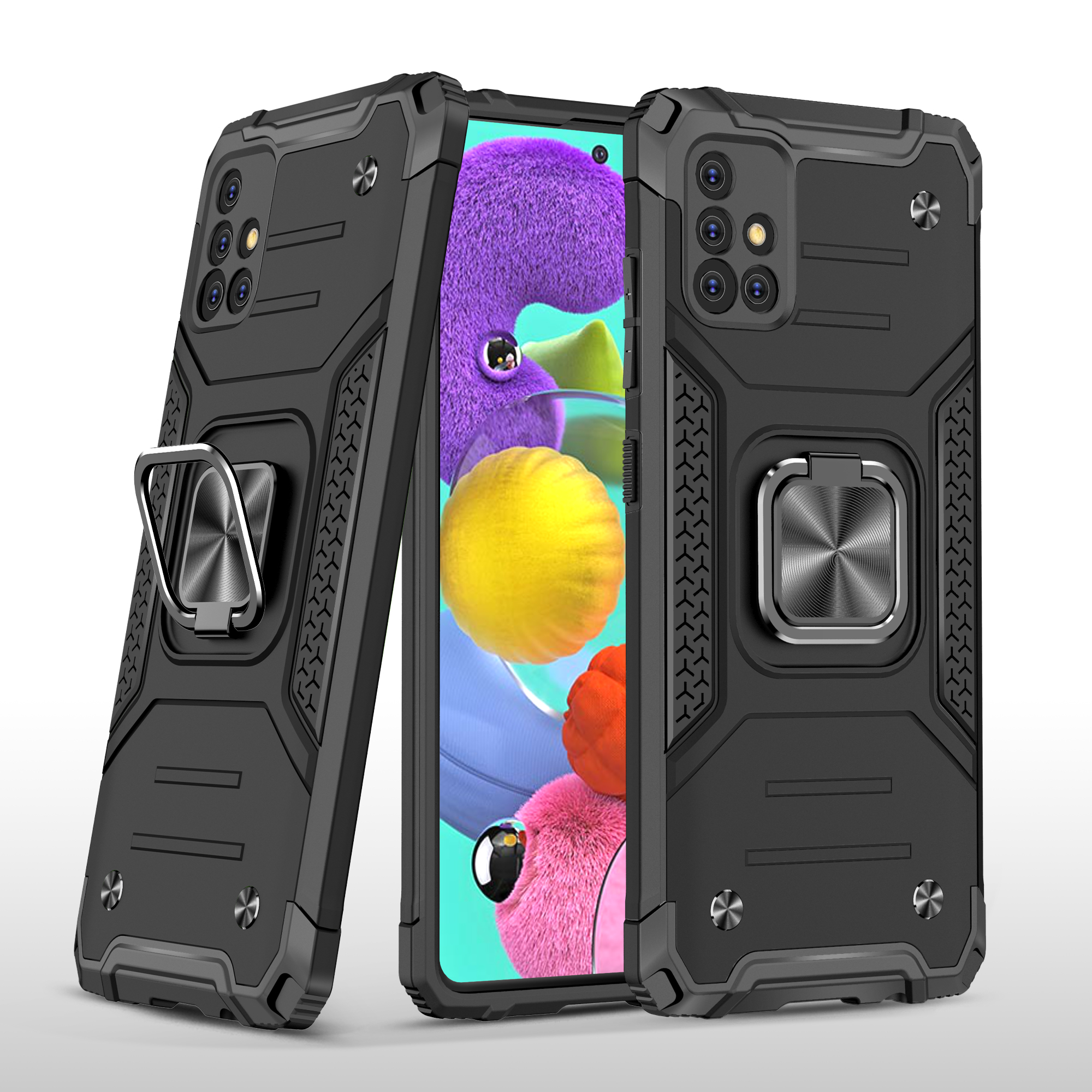 Mobile Case with Bracket TPU PC for Samsung A51 5G Anti-drop All-inclusive PVC Bag black