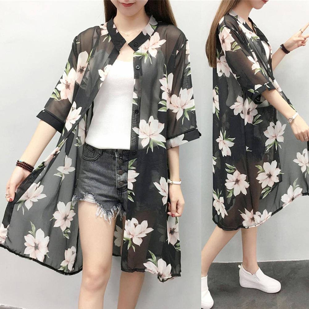 Women Large Size Thin Printing Beach Sunscreen Chiffon Cardigan 7#_Large size 80-145 kg worn inside