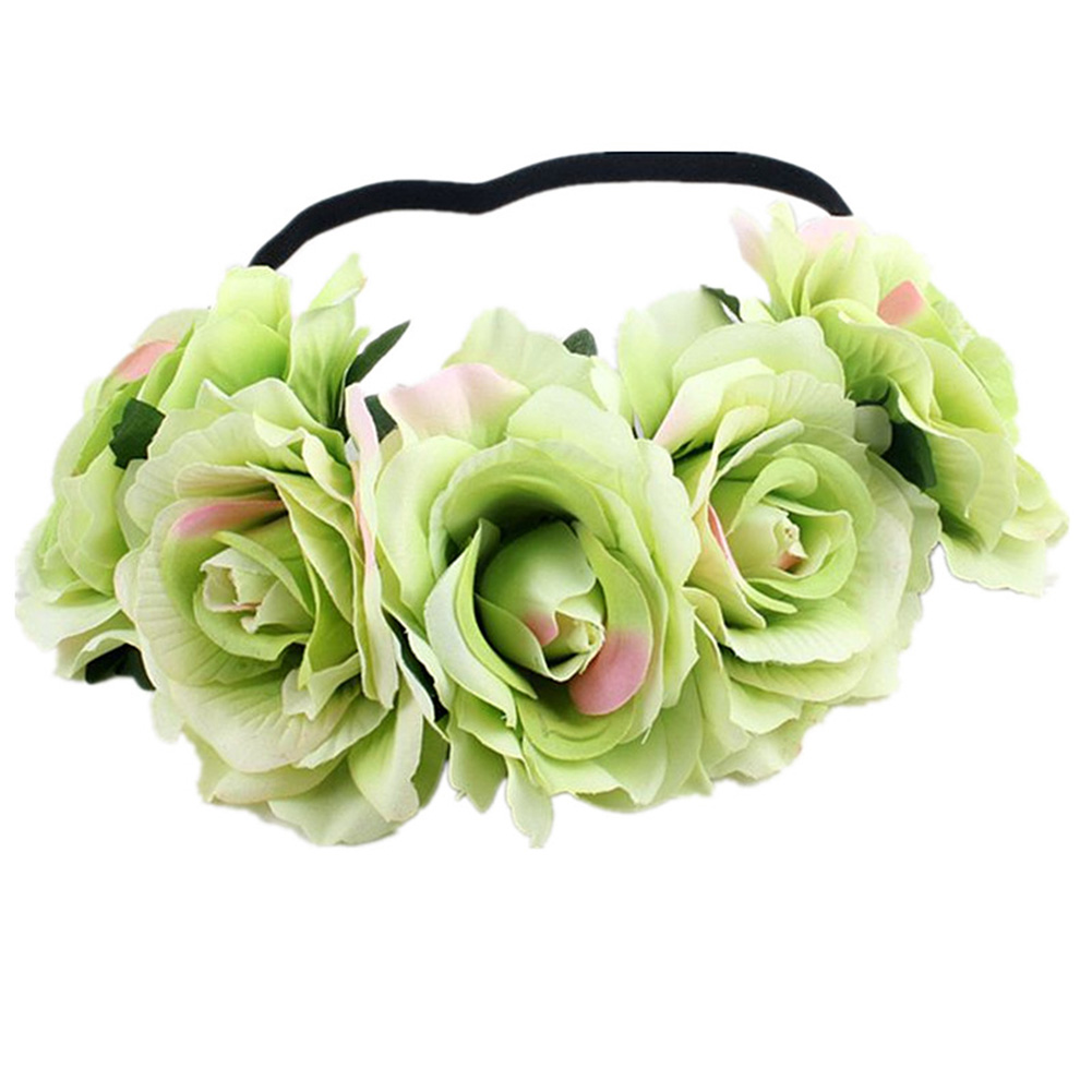 Artificial Flower Garland Rose Love Shape Wreath Headband Silk Rose Wedding Car Decor Colored green