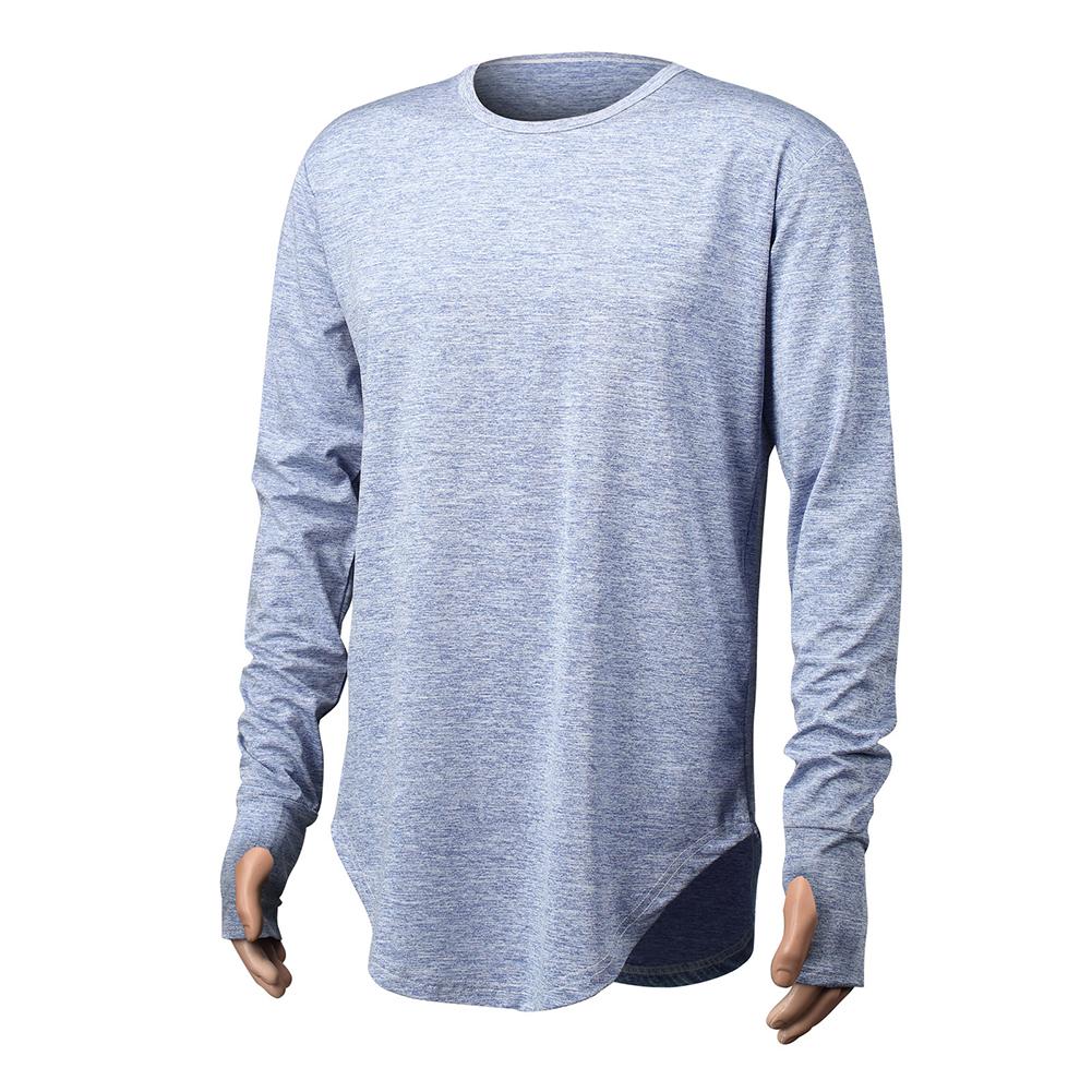 Unisex Cuff Thumb Open Design Fashion Long Sleeve T-Shirt blue_XXL