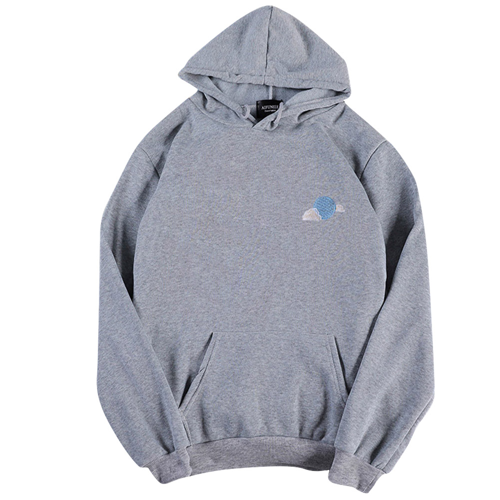 Men Women Hoodie Sweatshirt Cloud Thicken Velvet Loose Autumn Winter Pullover Tops Gray_XXL