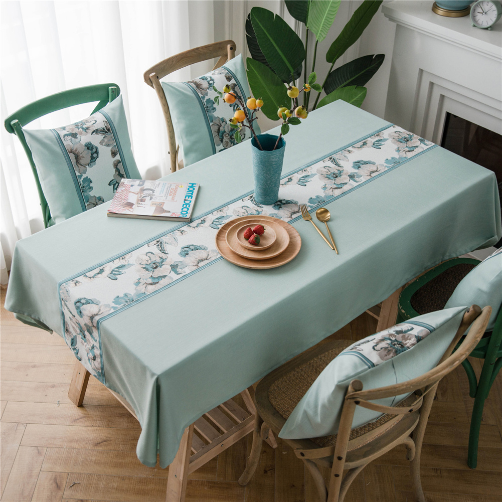 Waterproof Table  Cloth Decorative Fabric Embroidery Table Cover For Outdoor Indoor Green flower embroidery_135*100cm