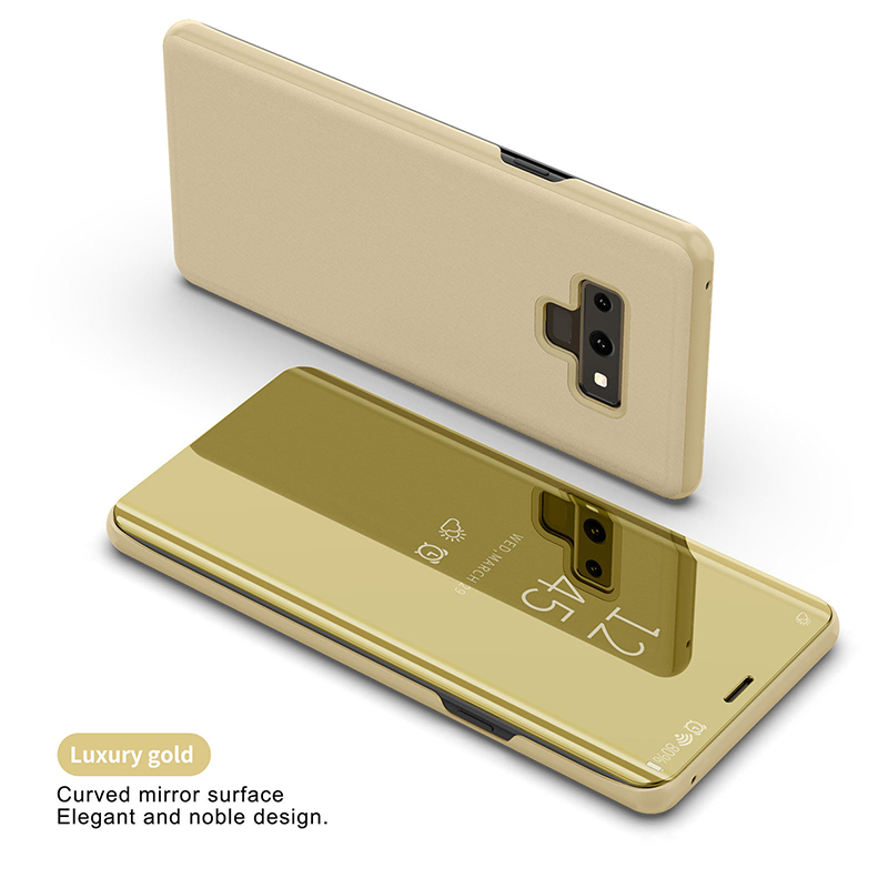 For Samsung Galaxy Note 9 Luxury Mirror View Flip Case Stand Shockproof Cover gold