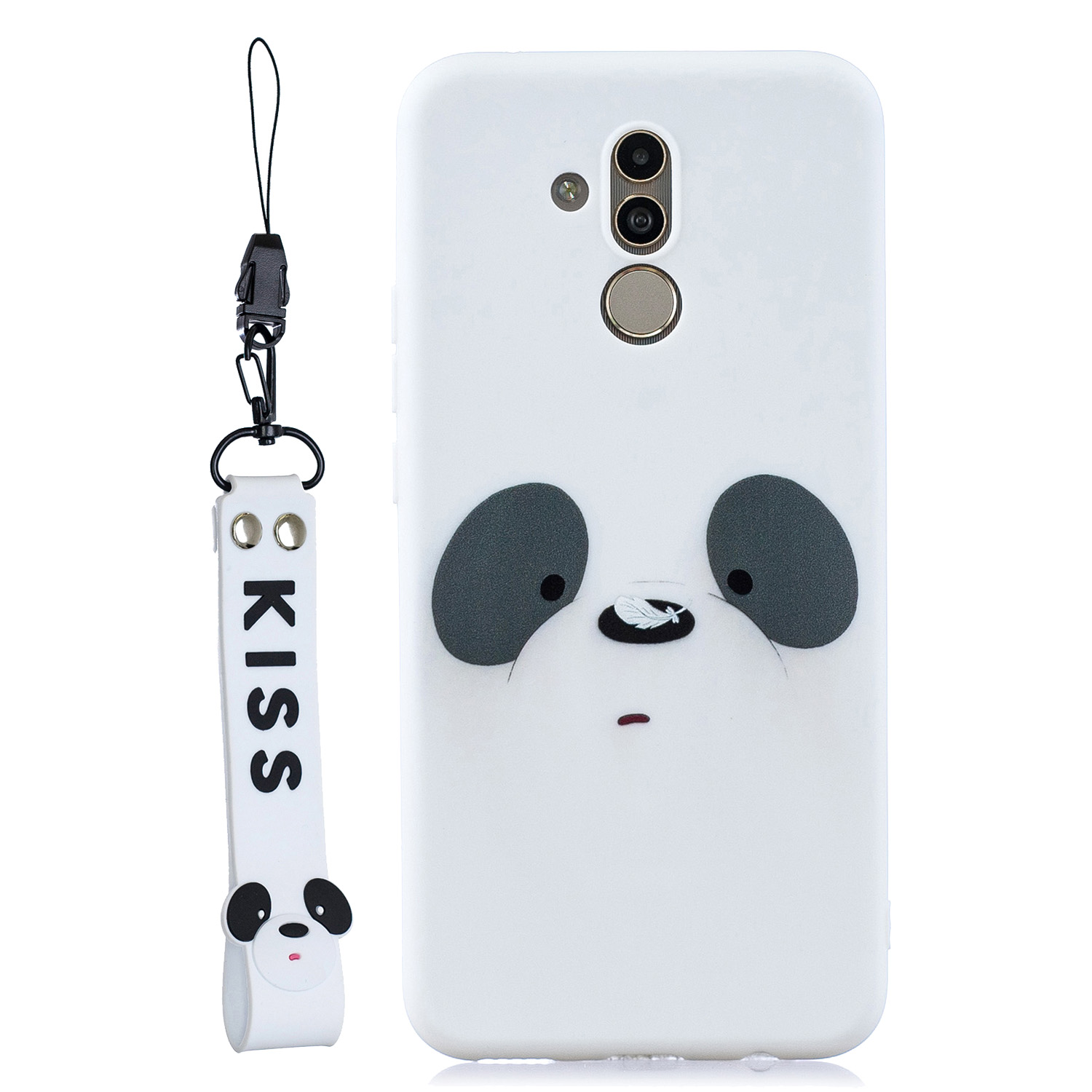 For HUAWEI MATE 20 lite/Maimang 7 Cute Coloured Painted TPU Anti-scratch Non-slip Protective Cover Back Case with Lanyard
