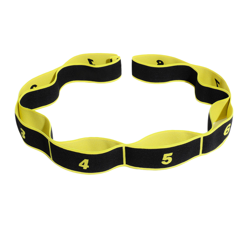 High Elastic Yoga Fitness Resistance Band 8-Loop Training Strap Tension Resistance Exercise Stretching Band for Sports Dancing Yellow black