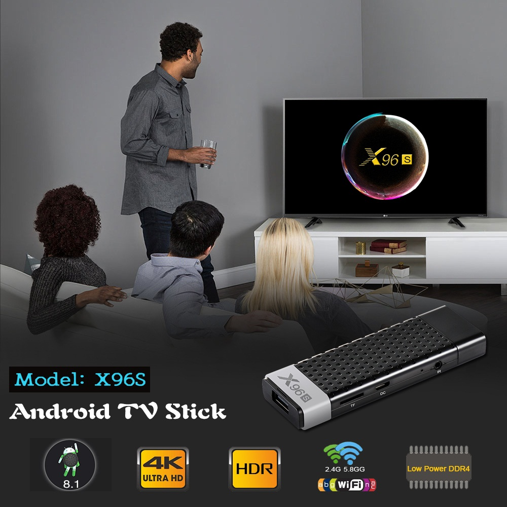 X96S Amlogic S905Y2 Quad Core Android 8.1 TV box 2.4G/5.8G Wifi 4K HD TV Media Player  4G+32G UK plug