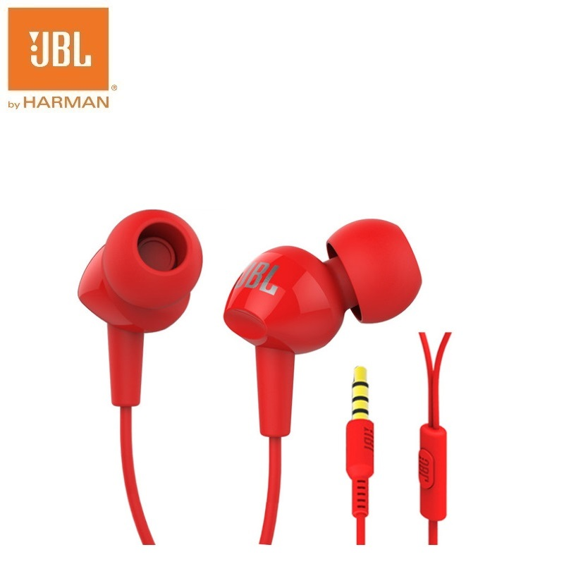 Original JBL C100Si Original 3.5mm Wired Stereo Earphones Deep Bass Music Sports Headset Sports Earphone red