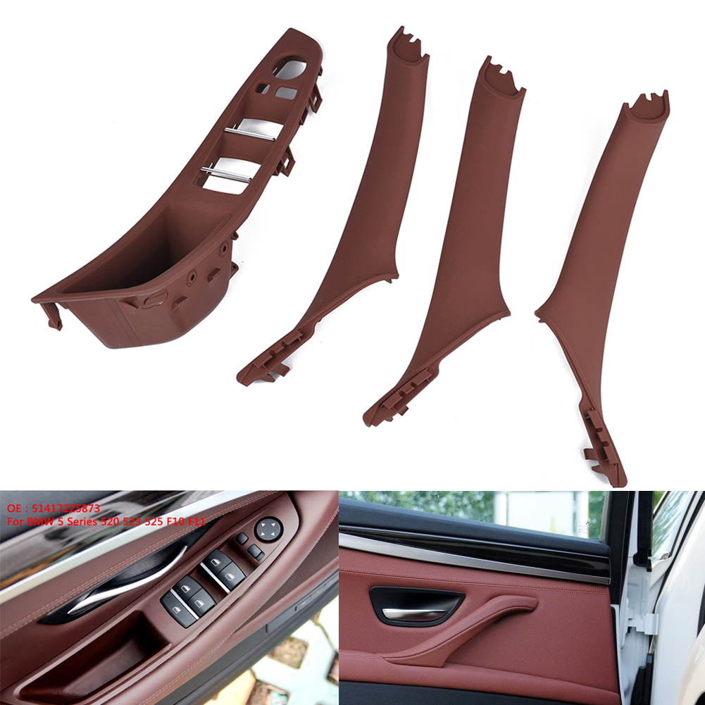 4pcs/set Door Handle Window Switch Panel for BMW 5 Series F10 F18 520 523 525 brownish red