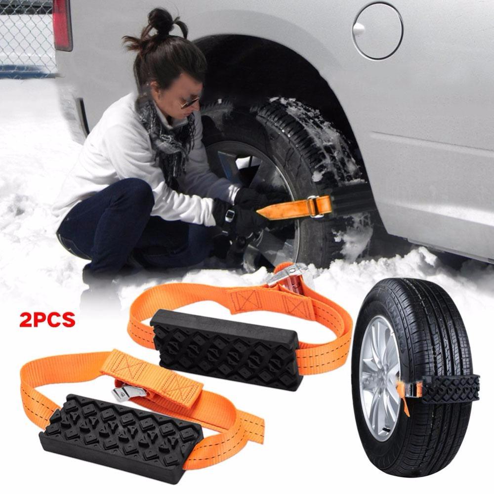 2PCS Car Snow Chains Anti-Skid Universal Rubber Nylon Snow Mud Chain Saloon Car Tire Emergency Anti Skid Strap
