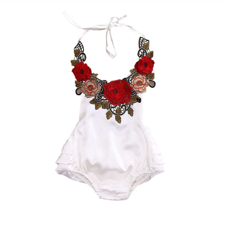 Kidlove Summer Baby Girl Infant Embroidered Flowers Romper Hanging Neck Sleeveless Bodysuit with Harness