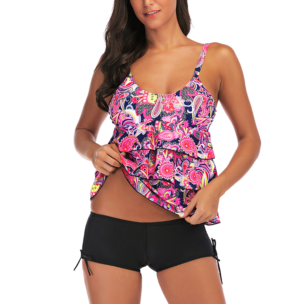 Women Large Size Floral Printing Boxers Top Bikini Set for Swimming red_2XL
