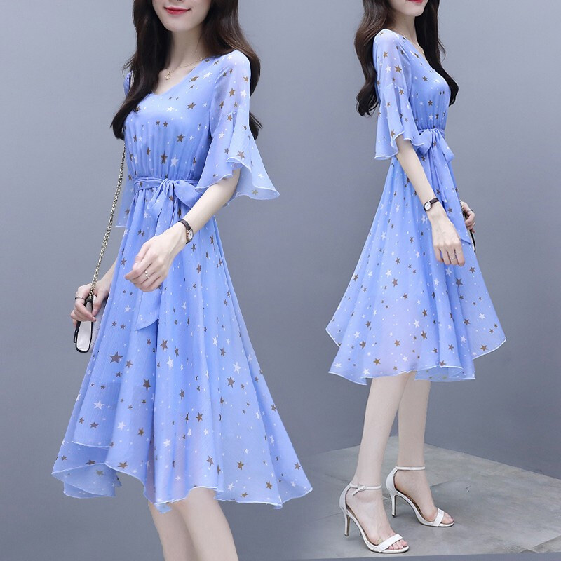 Summer Slim V-neck Ribbon Dress Elegant Star Flare Sleeves Middle Long Printing Dress blue_L