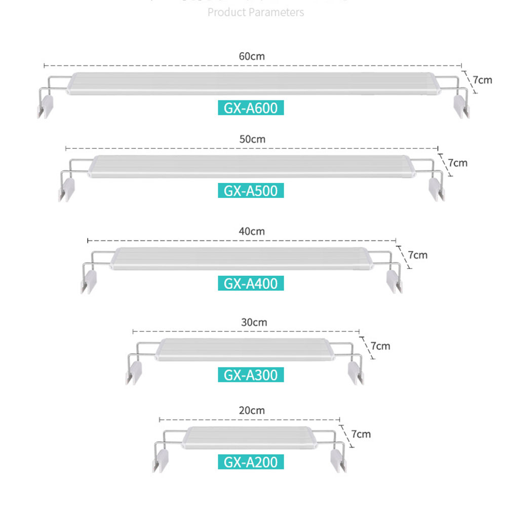 LED Lamp with Extensible Clip for Aquarium Fish Tank Lighting White Blue Light Four rows of GX-A400 white and blue