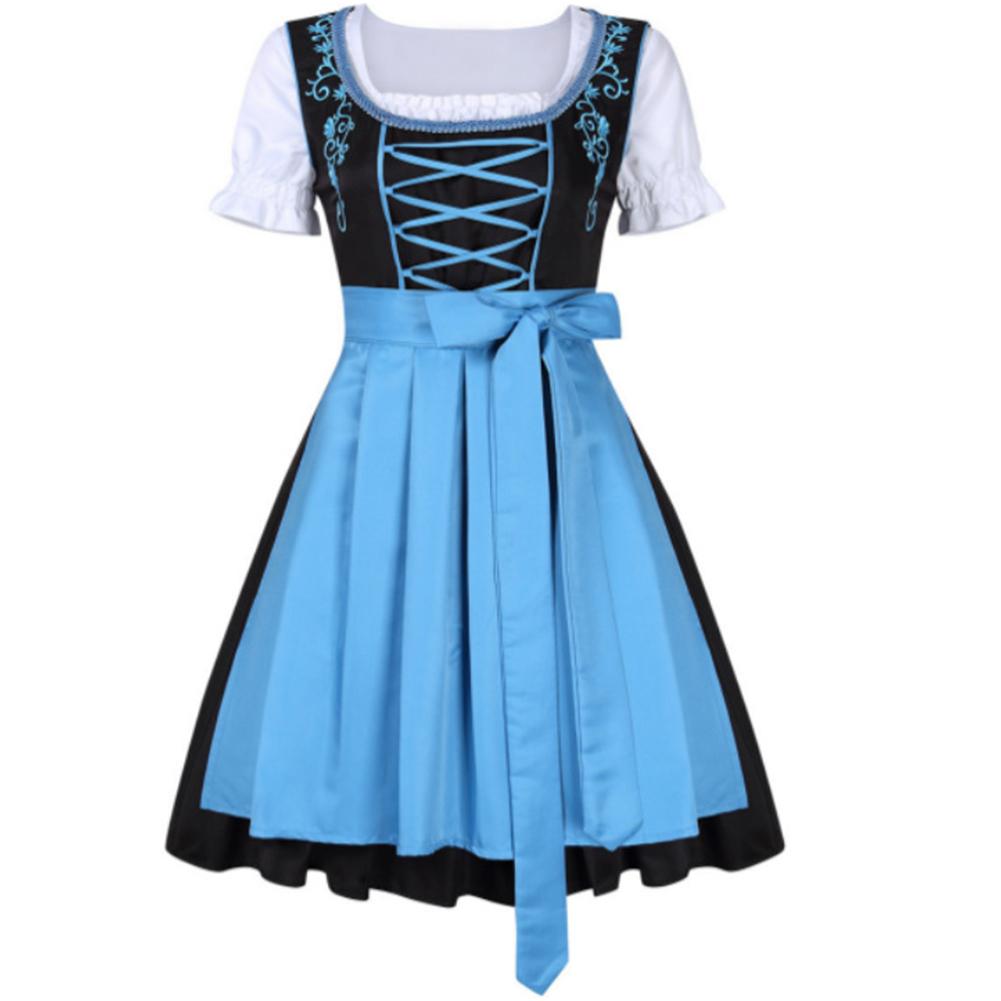 3pcs/set Female Bavarian Traditional Dirndl Dress Elegant Dress for Beer Festival  blue_L