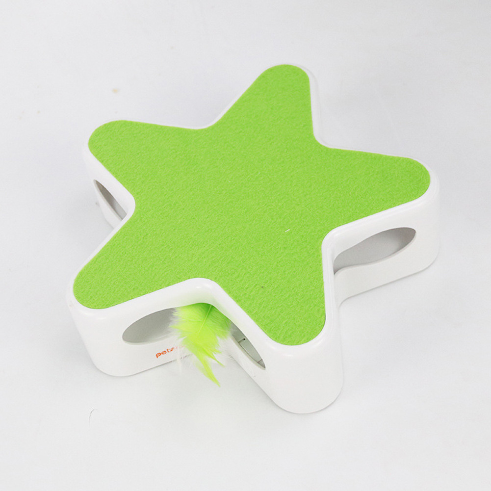 Feather 360 Degree Random Rotation Automatic Cat Toy Five Pointed Star Teaser Box for Pet green