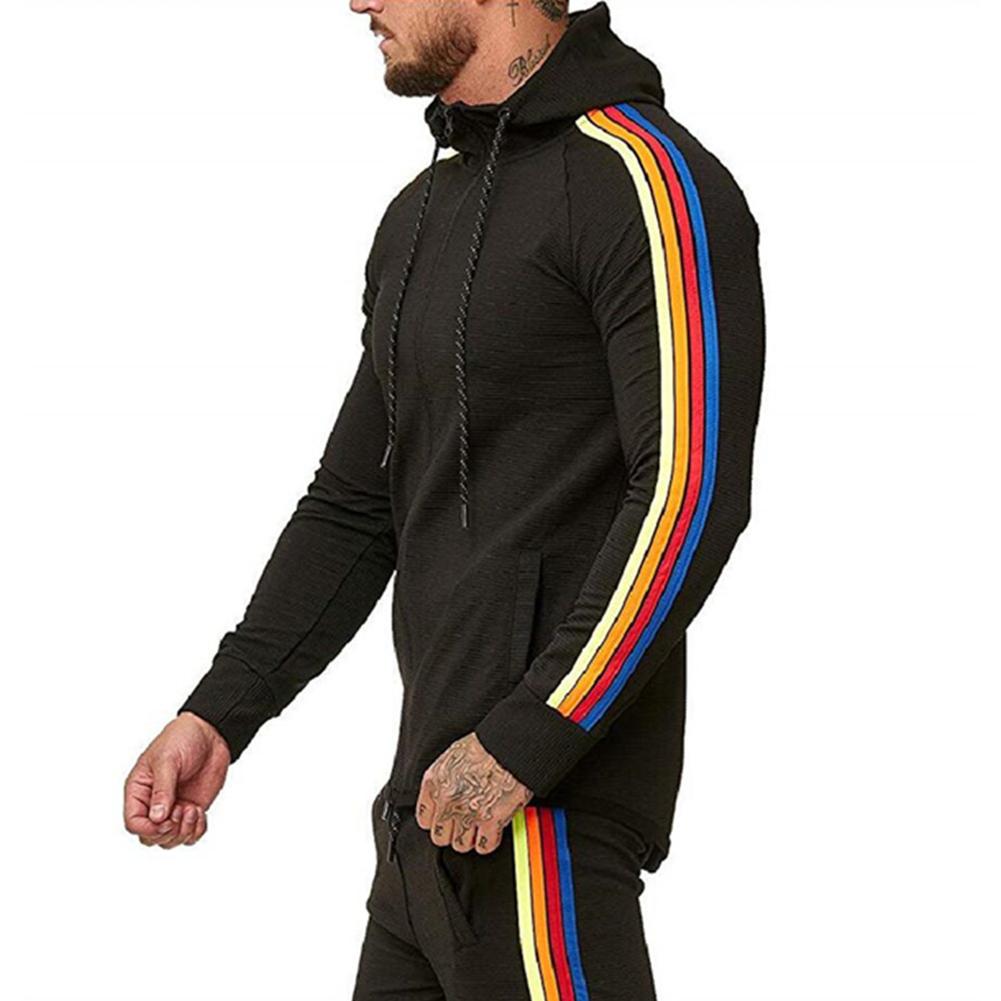 Men Pinstripe Sweatshirt Color Stripe Fashion Zipper Cardigan Hooded Sweatshirt black_XXXL