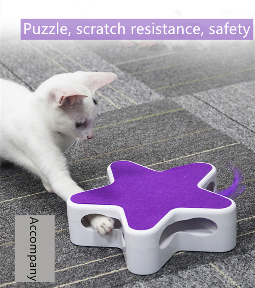 Feather 360 Degree Random Rotation Automatic Cat Toy Five Pointed Star Teaser Box for Pet purple