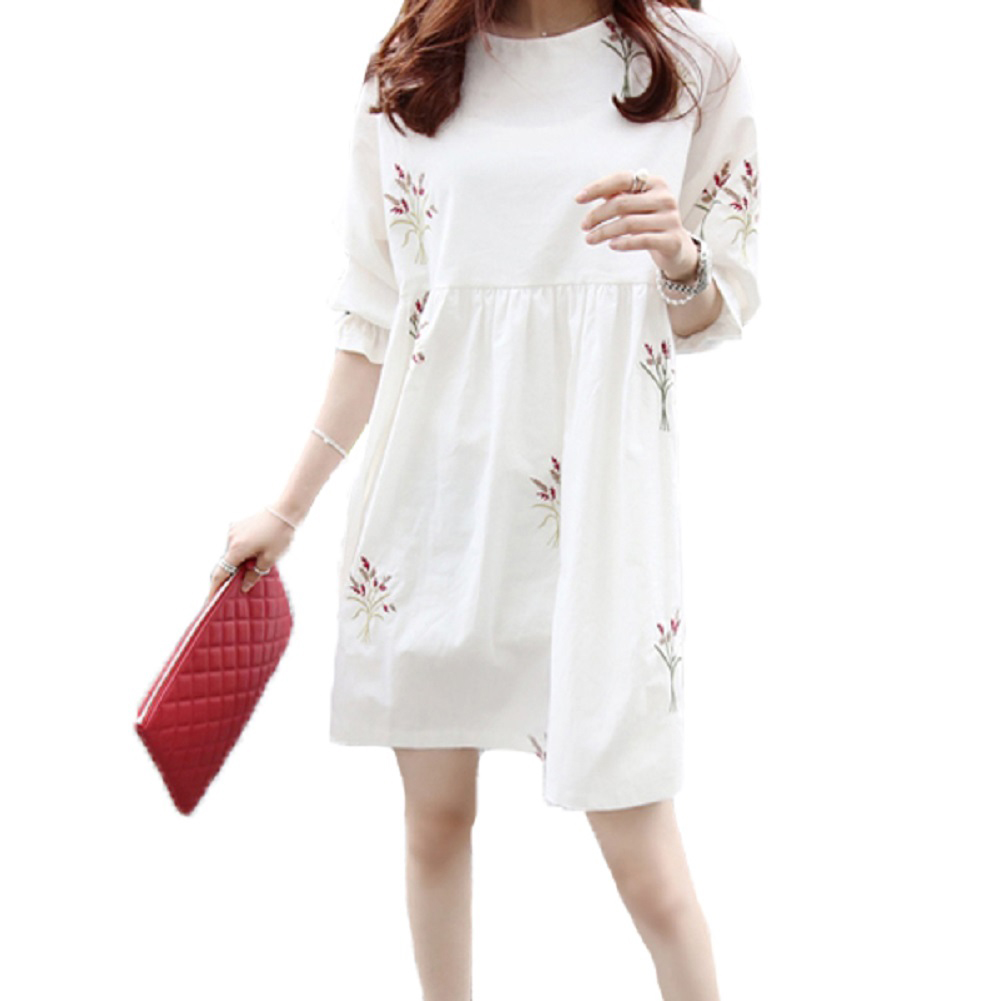 Women Round Collar Half-Sleeves Loose Pregnant Dress in Embroidery for Shopping Casual  white_XL