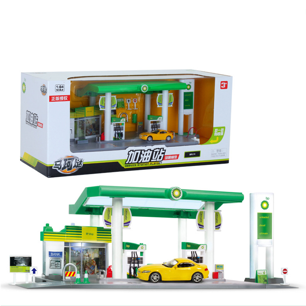 Scale Sound +Light Service Gas Station Store Road Car Playing House Toy Set British BP oil station combination - Car random 1