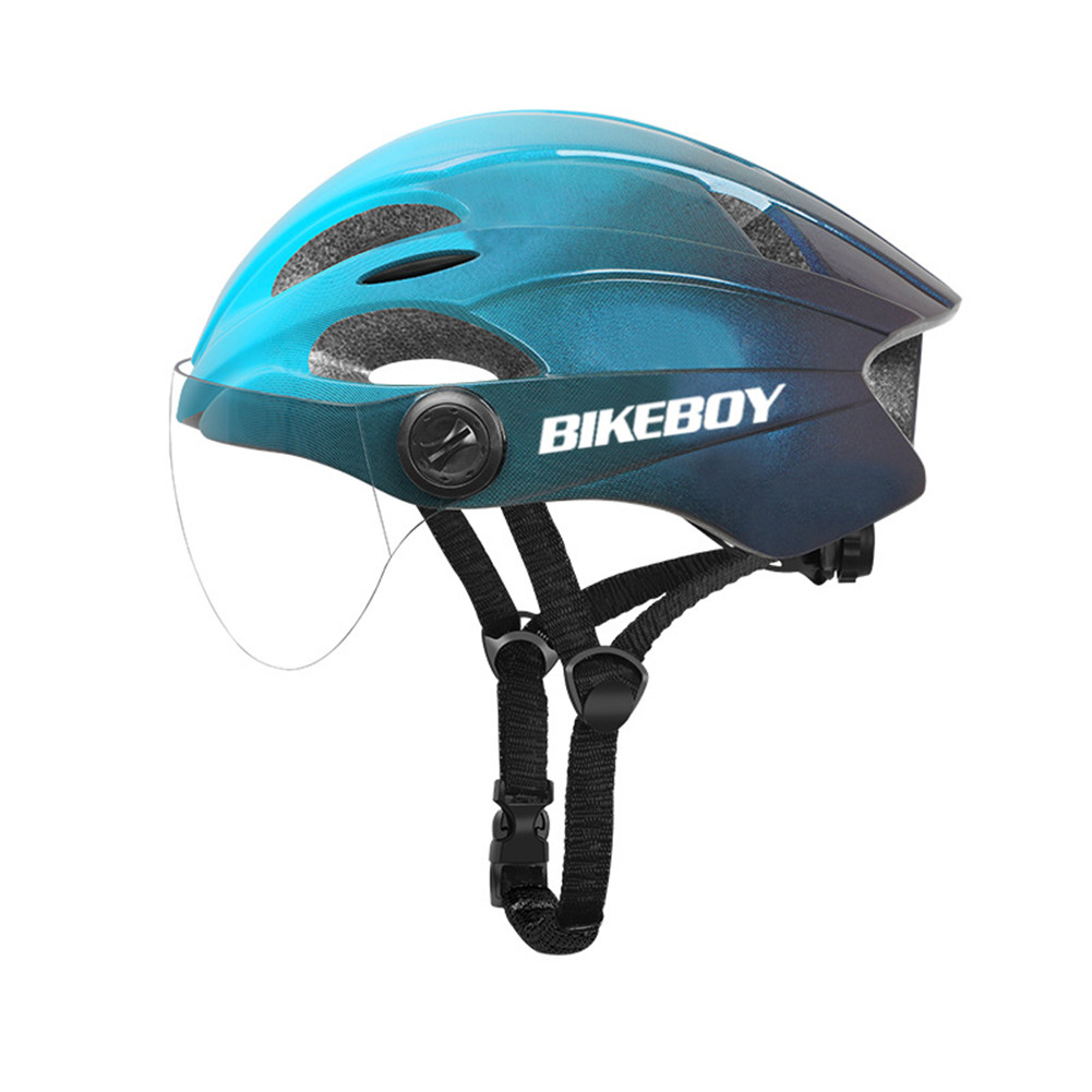 Eps Bicycle Safety  Helmet With Windproof Goggles Motorcycle Electromobile Accessories Gradient blue