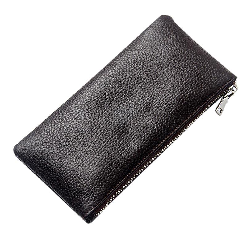 Men Leather Rectangle Wallet Soft Wear Resistance Retro Handbag Christmas Gift Brown