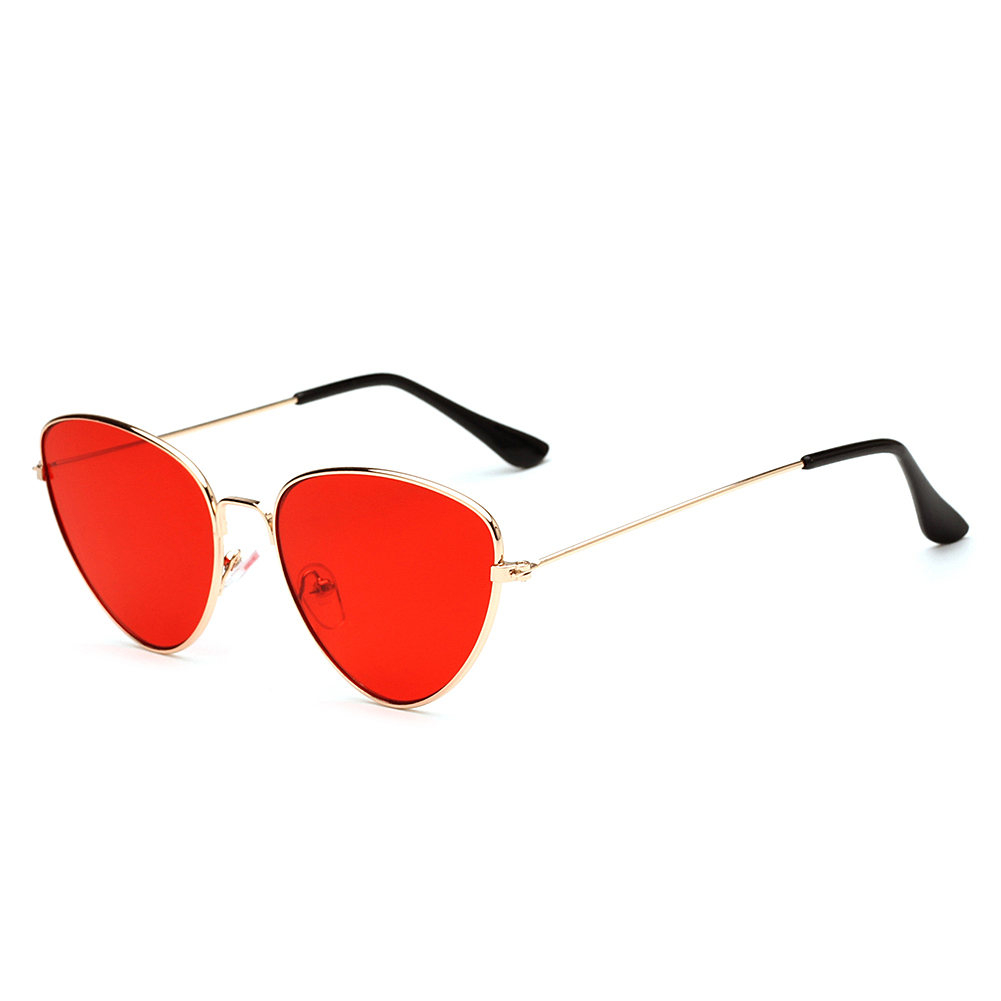 Metal Frame Sunglasses Cat Eye Mirrored Flat Lenses Retro Fashion Sunglasses for Man Woman
