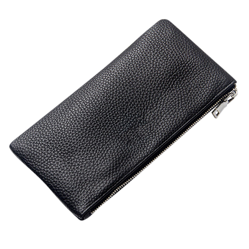 Men Leather Rectangle Wallet Soft Wear Resistance Retro Handbag Christmas Gift black