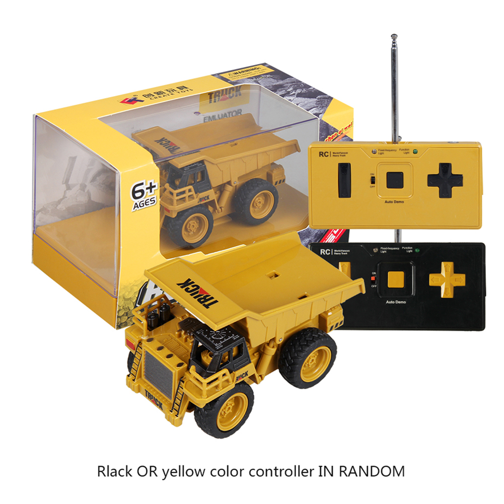 Children 1:64 Mini Remote Control Engineering Car 4 Channel Bulldozer Toy Loading and unloading truck_1:64