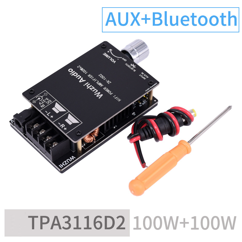 Digital Amplifier Stereo Board HIFI 100WX2 TPA3116 Bluetooth 5.0 High Power AMP Amplificador Home Theater black