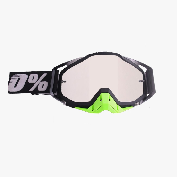 [Indonesia Direct] Motocross Goggles Motorcycle Glasses Racing Moto Bike Cycling Sunglasses Riding Goggles All black + green