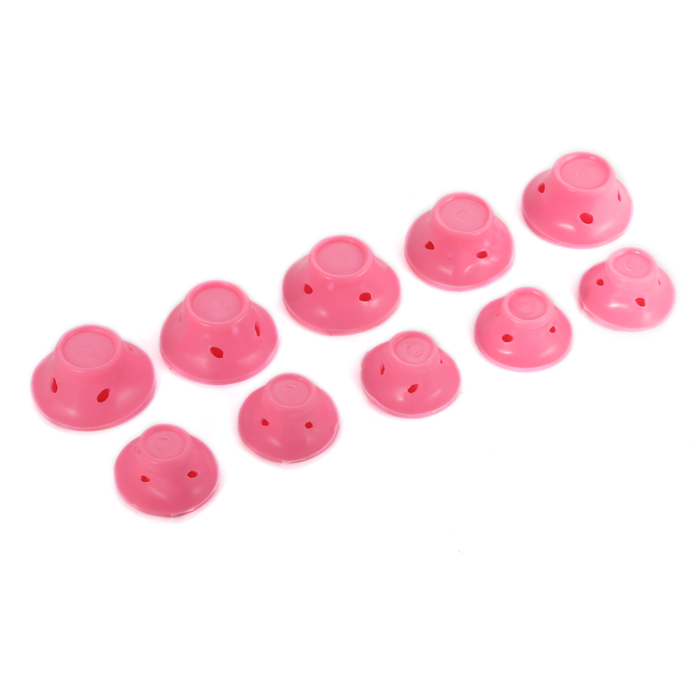 [EU Direct] 10Pcs Magic Home DIY Hair Care Curler Soft Silicone Roller Curling Iron Hairstyle Tool Pink