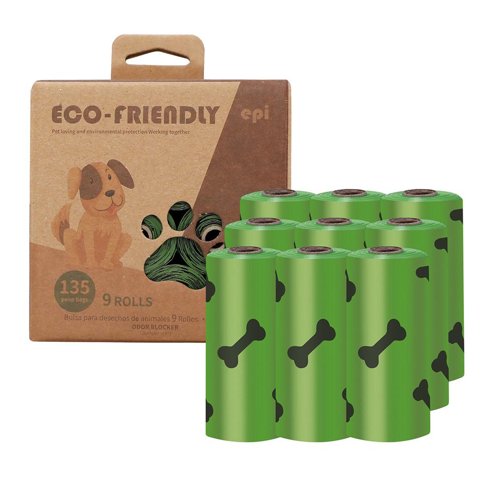Dog Poop  Bag Pet Poop Picker Degradable Poop Picker Eco-friendly Dog Waste  Disposal  Bags 9 rolls (environmental printing thickness 1.5 ribbon fragrance)