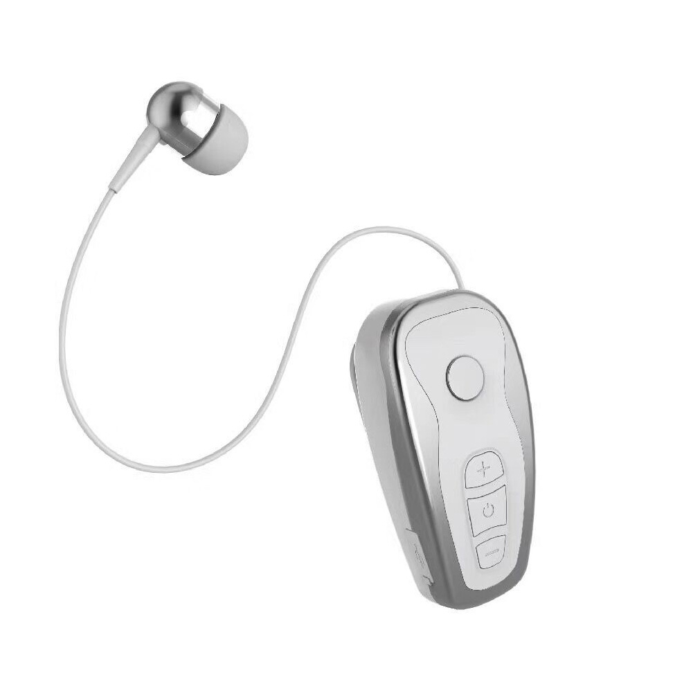 Q7 Wireless Convenient Bluetooth 4.1 Earphone Stereo Headset Voice Report In-Ear Retractable Wire Business Neck Clip Design silver