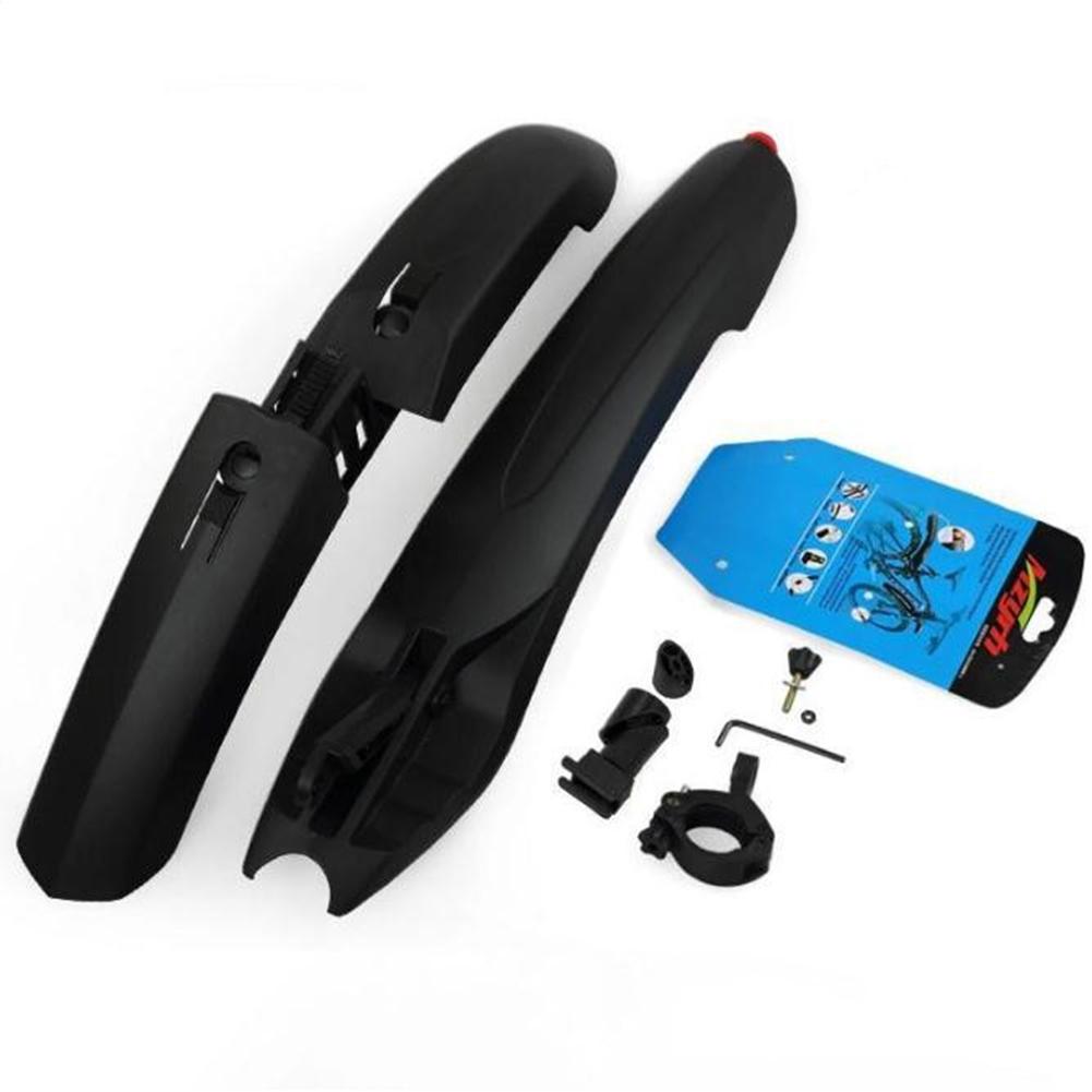 Mountain Bike Mud Guard with Tail Light 26 Inch Plastic Adjustable Rain Guarder black_Lighted mud board