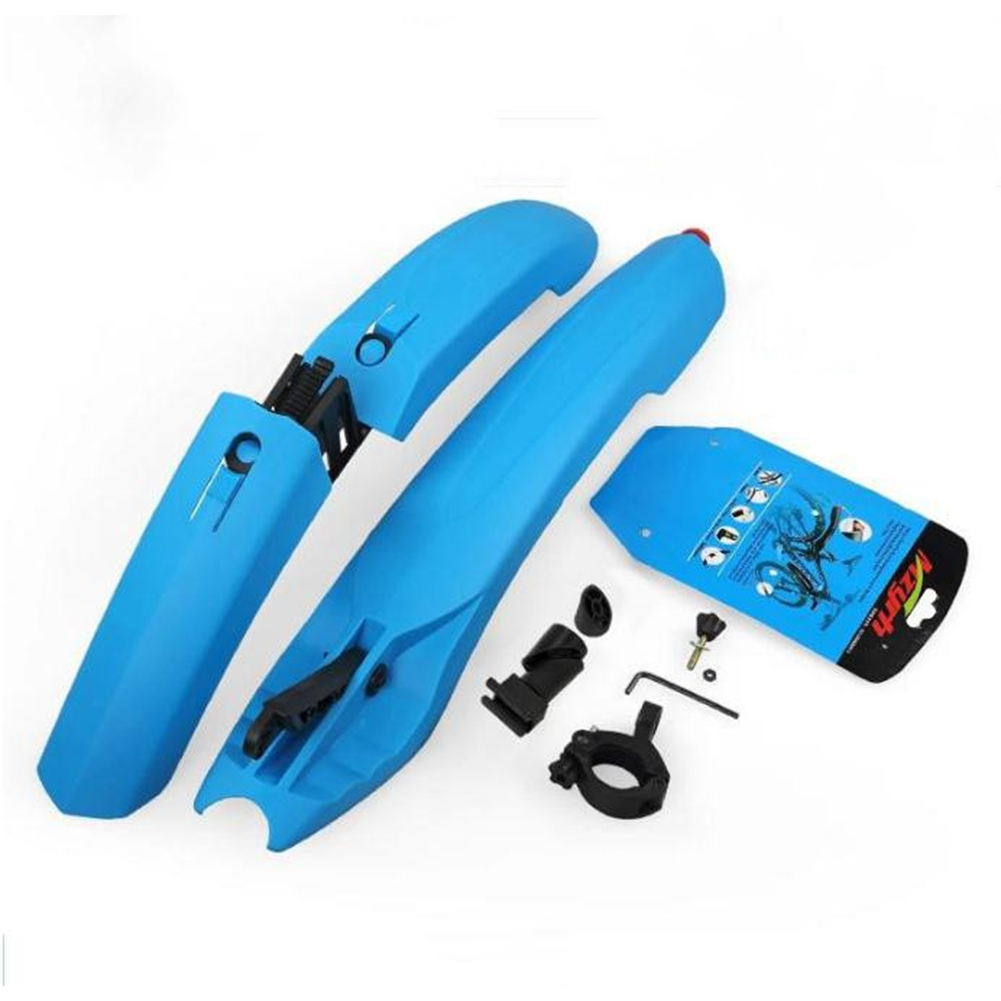Mountain Bike Mud Guard with Tail Light 26 Inch Plastic Adjustable Rain Guarder blue_Lighted mud board