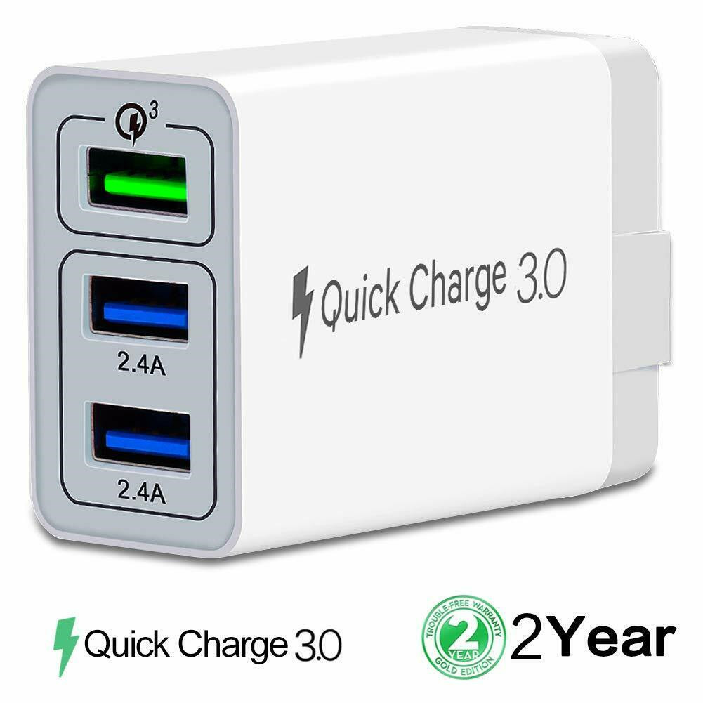 White 3 USB QC3.0 Fast Charging Mobile Phone Charger Travel Adapter for Android Phone white