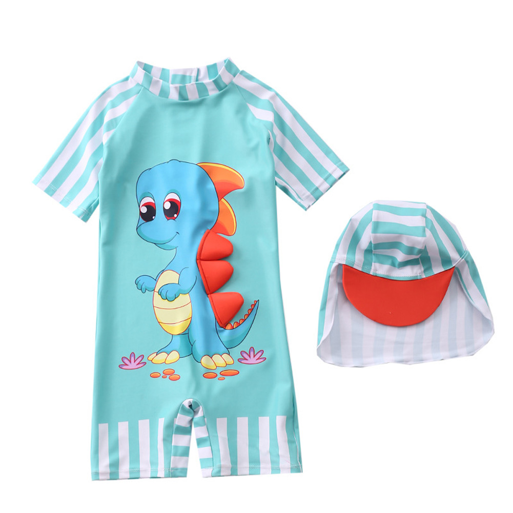 Kids Swimsuit Baby Boy One-piece Swimming Suit Cartoon Swimsuit + Swimming Cap Set dinosaur_S