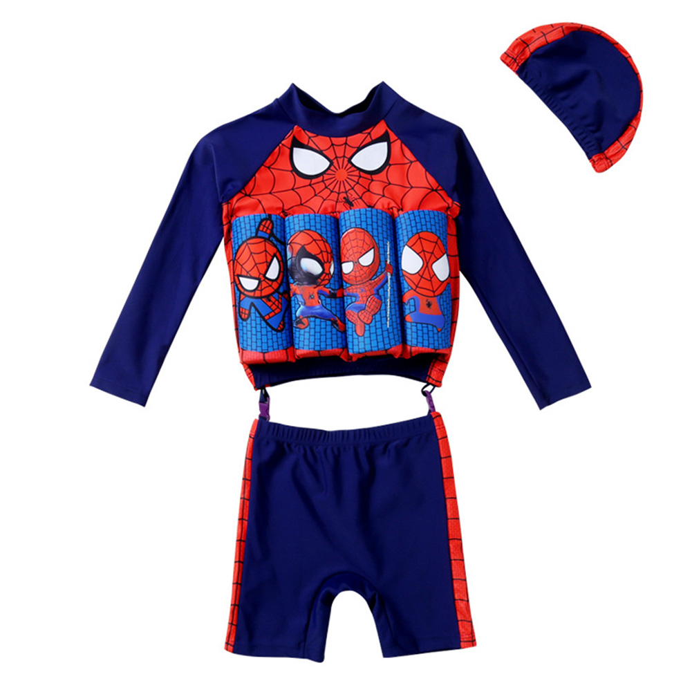 Boys Split Buoyancy Swimsuit 1-4 Years Old Cartoon Long-Sleeved Sunscreen Floating Swimsuit Navy blue_M