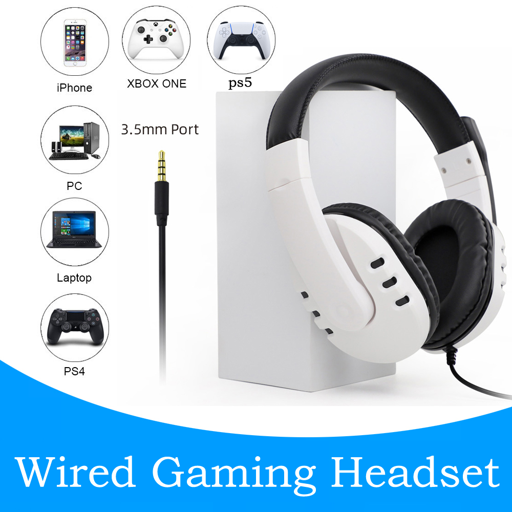 Wired Gaming Headphones 3.5mm For Ps5/ps4/pc/switch/x-one(s)/x-360 Noise Canceling Headphone white