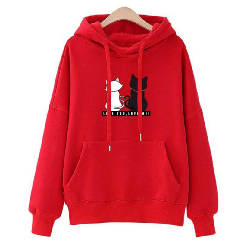Women Fashion Loose Hooded Sweatshirt M