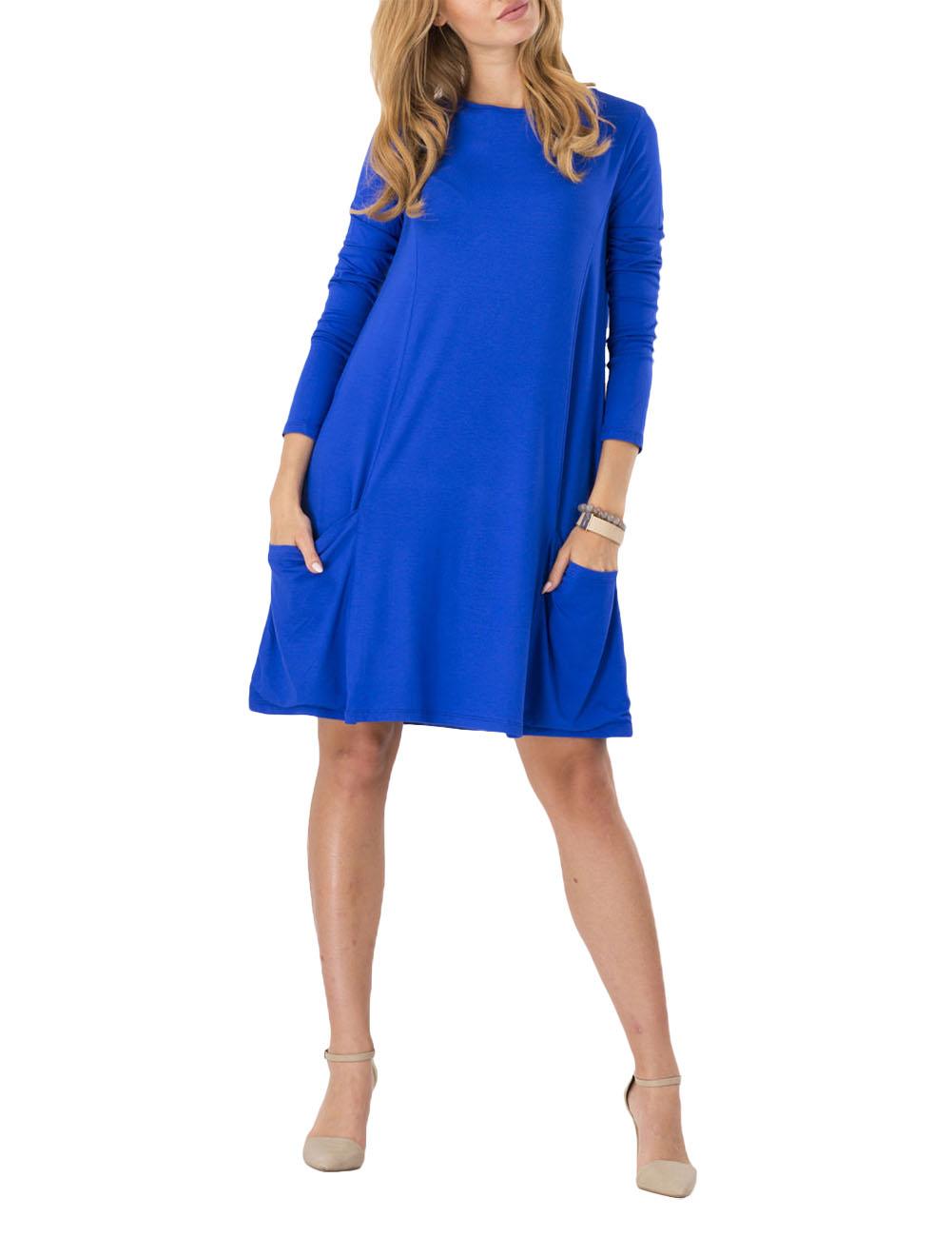 [US Direct] Leadingstar Women's Fashion Basic Long Sleeve Pockets Casual Swing Plain Work Wear Dress