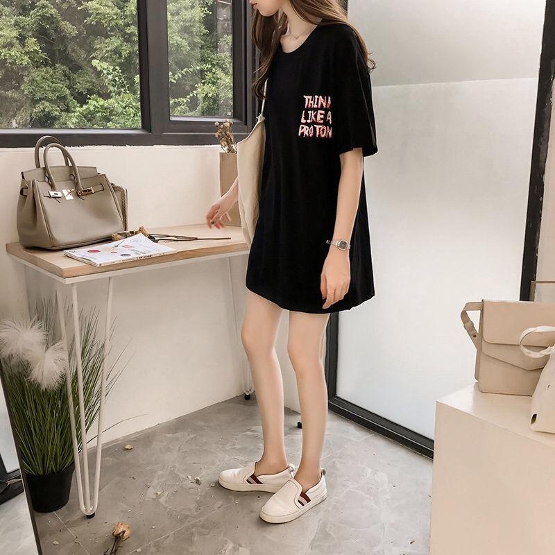 Women Stylish Loose Round Collar Letter Short Sleeve T-shirt black_XL