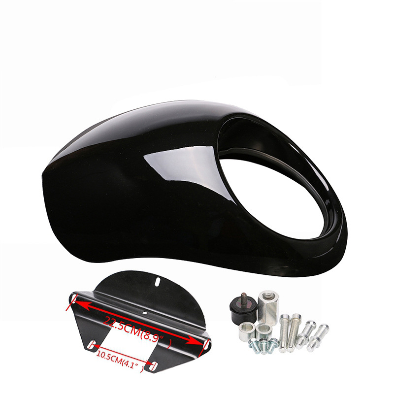 For  Sportster Dyna 883 Motorcycle Front Headlight Cowl Fairing Retro Mask  bright black