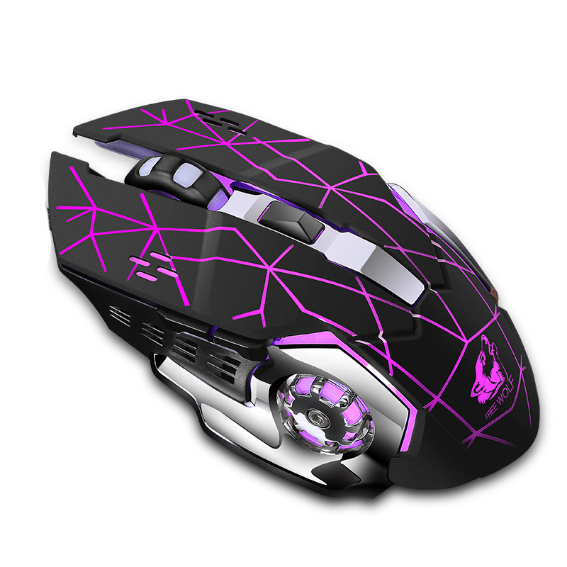 Rechargeable X8 Wireless Silent Led Backlit Usb Optical Ergonomic Gaming Mouse Quality Mouse For Pc Star black