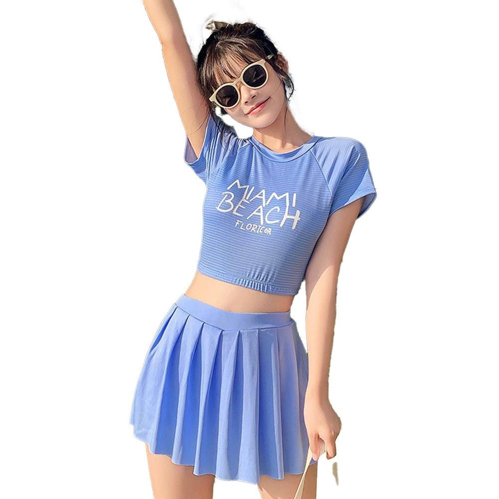 2 Pcs/set Women  Split  Swimsuit Fashionable Boxer Anti-exposure Conservative Slim Swimwear Blue_L