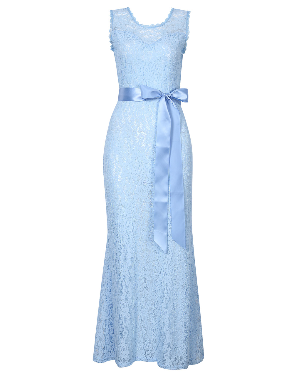 Sleeveless Sliming Halter Floral Lace Scoop Neck Maxi Dress