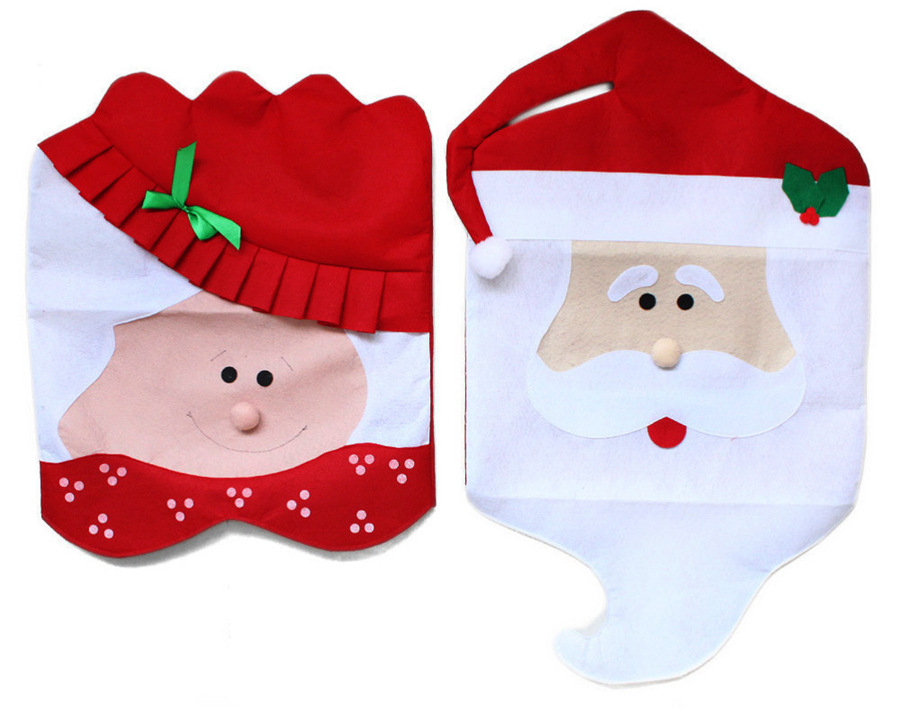 [US Direct] 1pair Creative Lovely Christmas Chair Covers Santa Snowman Home Decoration + Smiling Face Stickers red