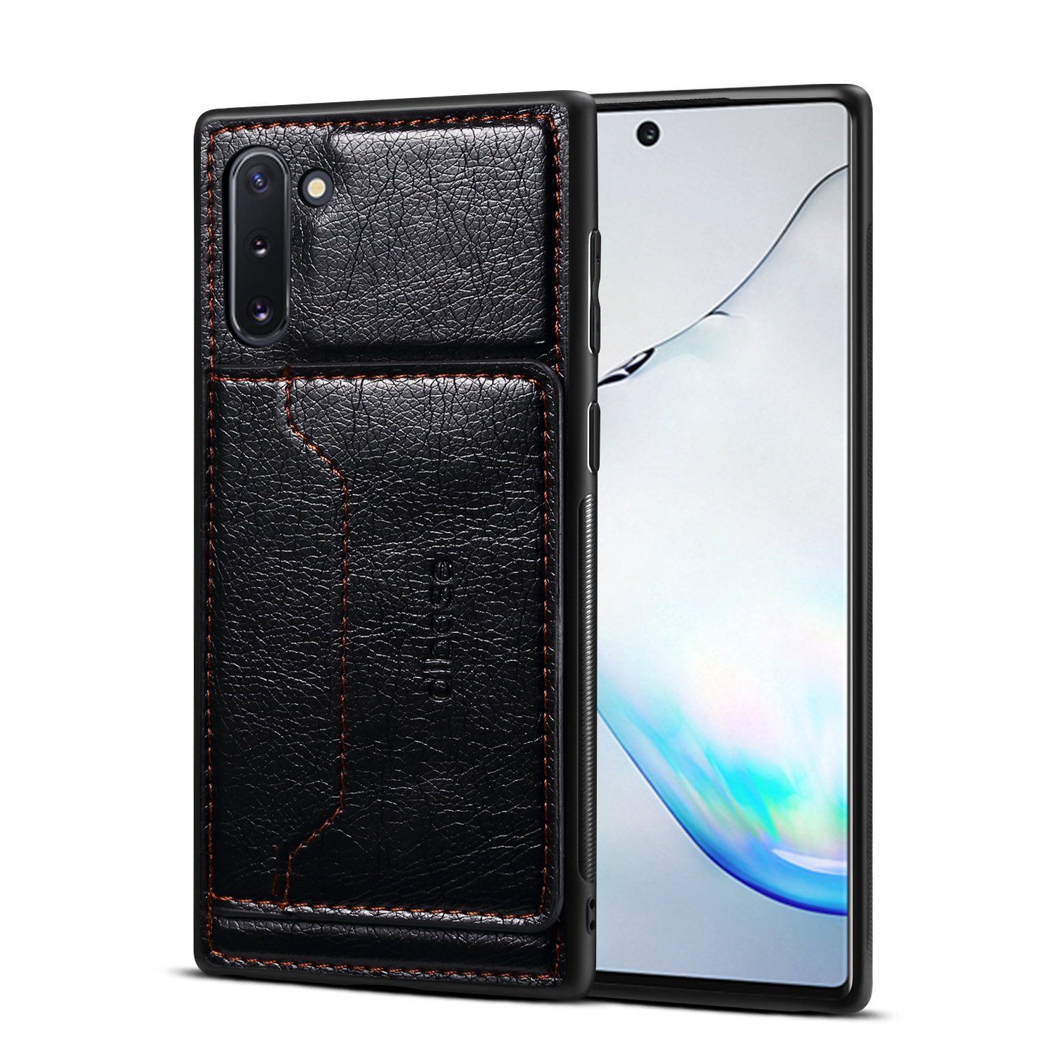 For Samsung Note 10/10 Pro Cellphone Cover 2-in-1 Stand Function Textured PU Leather Anti-scratch Overall Protection Case Card Holder black